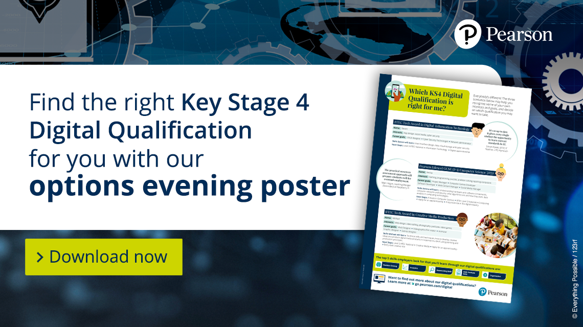 Find the right KS4 Digital Qualification for you with our options evening poster